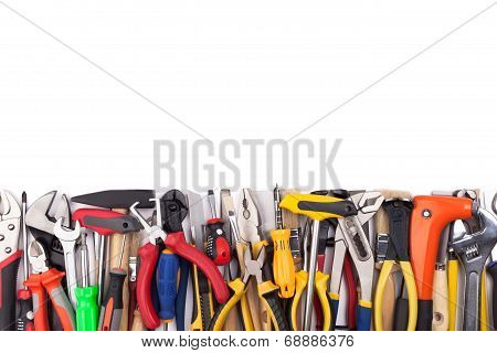 Work tools on white background.