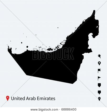High detailed vector map of United Arab Emirates with pins.