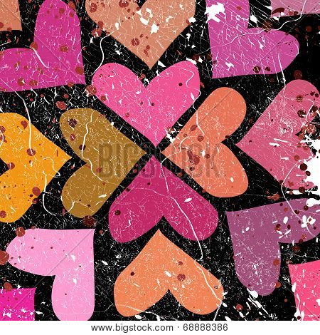 Scattered Colorful Hearts On Grunge Background