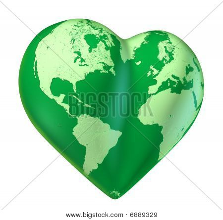 Green world heart