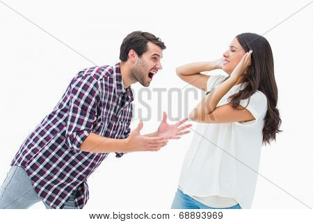 Fearful brunette being overpowered by boyfriend on white background