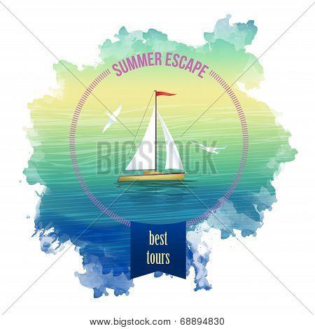 Yacht Sea Landscape Watercolor Vector