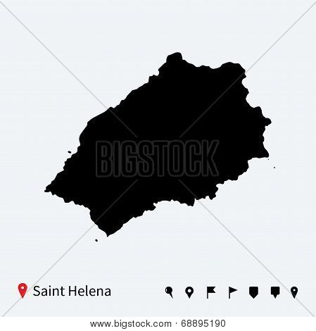 High detailed vector map of Saint Helena with navigation pins.