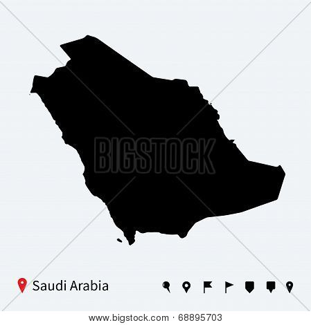 High detailed vector map of Saudi Arabia with navigation pins.
