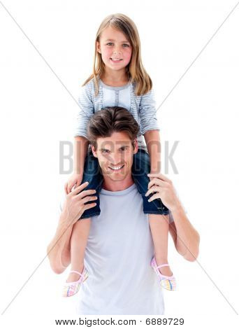 Elegant Father Giving His Daughter Piggyback Ride
