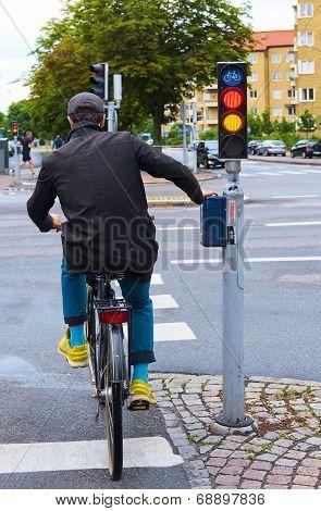 Young man biking