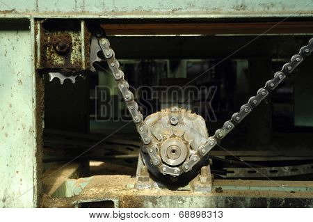 Old Machine Gear With A Chain