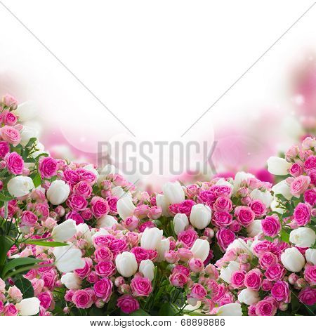 bunch of roses and  tulips flowers