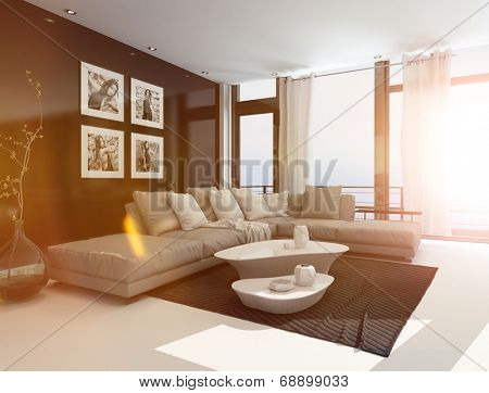 Comfortable living room interior with an upholstered corner lounge suite, coffee tables and artwork on the walls in bright sunlight with lens flare