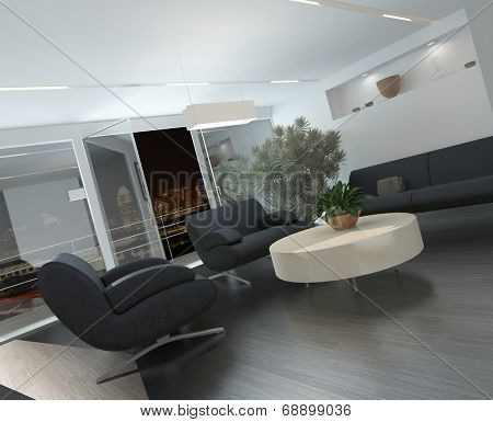 Modern lounge or waiting room interior with comfortable armchairs and a sofa around a low table, a potted tree and recessed lighting