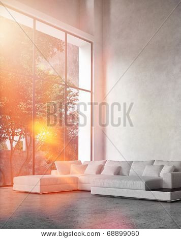 Modern living room interior with bright sun flare through a floor-to-ceiling glass wall bathing a comfortable corner unit lounge suite in bright light