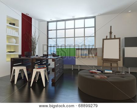 Artists drawing room or design studio interior with storage units on the walls, a round low upholstered seat and large easel and blank canvas in front of a large light window