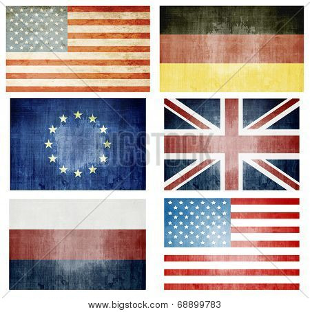 Set Of Grunge Flags