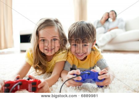 poster of Loving Siblings Playing Video Game