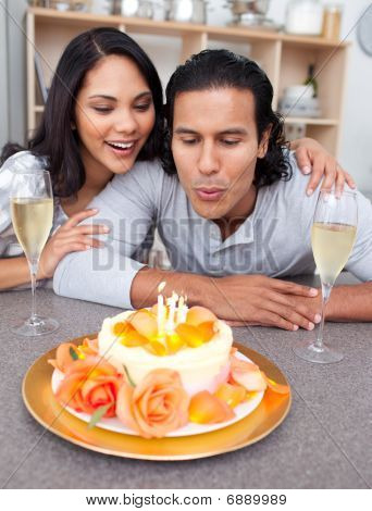 Happy Man And His Wife Celebrating His Birthday