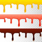 picture of dripping  - honey jam chocolate seamless transparent drips  - JPG
