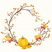 image of bittersweet  - Wreath with pumpkin - JPG