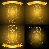 foto of frizzle  - Wedding glasses with ribbon in gold color vector eps10 - JPG