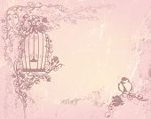 foto of caged  - vintage rose garden with open cage and bird  - JPG