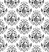 stock photo of treble clef  - Vector musical notes seamless pattern over white background - JPG
