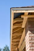stock photo of soffit  - Soffit framing for a new home being constructed - JPG
