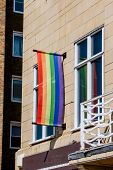 picture of gay symbol  - Rainbow flag - gay symbol - as seen on apartment window