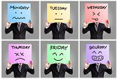 stock photo of thursday  - Day of week and face expression  - JPG