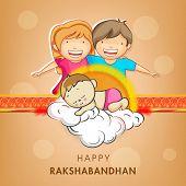 image of rakhi  - Cute little sister and brother holding hands with beautiful rakhi on shiny brown background for Raksha Bandhan celebrations - JPG