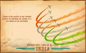 image of indian flag  - illustration of airplane making Indian tricolor flag in sky - JPG