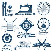 pic of tailoring  - illustration of vintage style sewing and tailor label - JPG