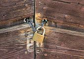 stock photo of hasp  - Metallic Padlock on a chain closing a wooden door - JPG
