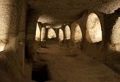 picture of catacombs  - Ancient christian catacombs in Milos island Greece - JPG