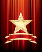 stock photo of marquee  - vector golden star with diamonds and blank bulb banner  - JPG