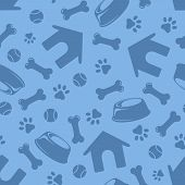 picture of paw  - Vector seamless blue pattern with doghouses - JPG