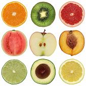 picture of peach  - Collection of healthy sliced fruits like oranges peaches lemons and apples - JPG