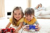 Loving Siblings Playing Video Game poster