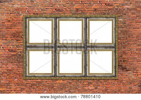 Strange Empty Golden Frame Over Brick Wall