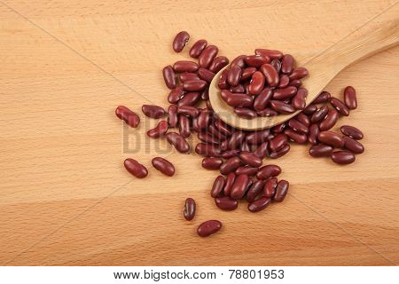 Red Kidney Beans With Wooden Spoon