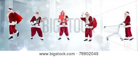 Composite image of different santas against lights glowing in modern room