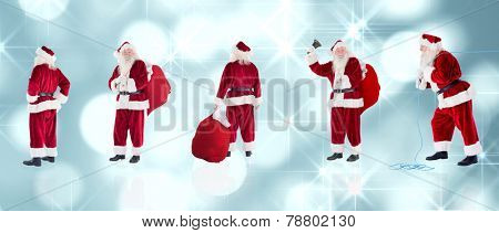 Composite image of different santas against light circles on blue background
