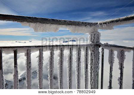 Alps From A Frosty Balcony