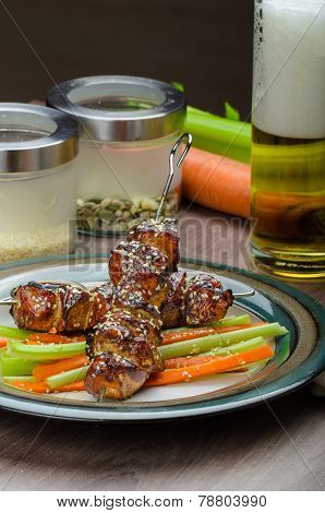 Sticky Teriyaki Chicken Skewers With Crunchy Slaw