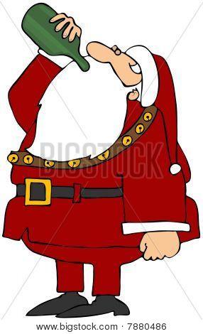Santa Drinking Wine