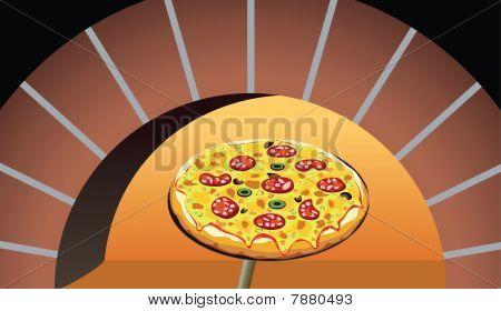 italian pizza in oven