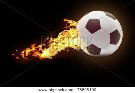 Football ball flying like comet on black background, sports poster