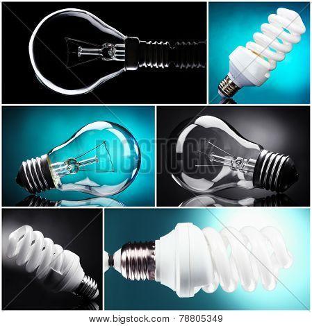 Light bulbs collage