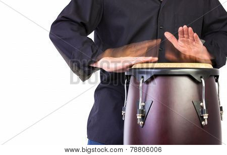 Motion Picture Of A Bongo Player Isolated On White