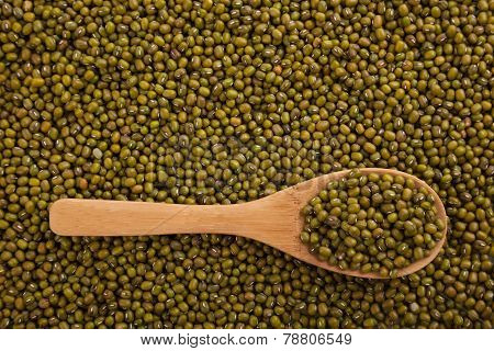 Mung Beans With Wooden Spoon