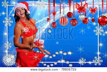 Winter Holidays postcard with Sexy Santa's Helper