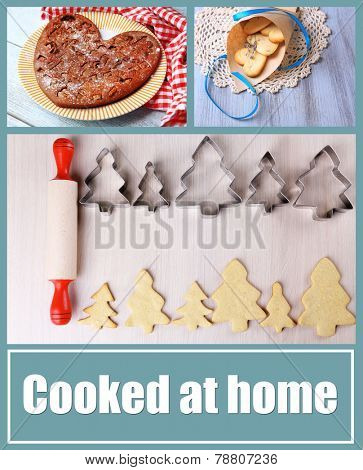Home baking collage, Cooked at home concept